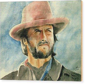 Clint Eastwood Wood Print by Nitesh Kumar