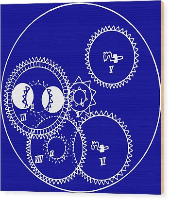 Clock Gears Blueprint Wood Print by