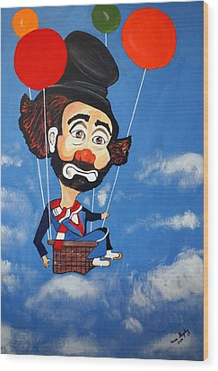 Wood Print featuring the painting Clown Up Up And Away by Nora Shepley