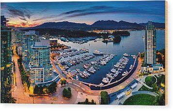 Coal Harbour In Vancouver Wood Print by Alexis Birkill