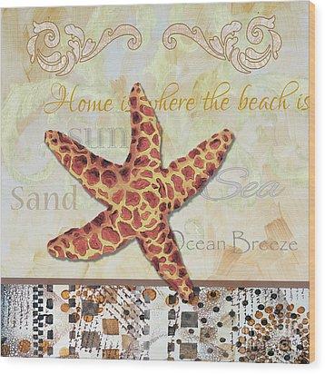 Coastal Decorative Starfish Painting Decorative Art By Megan Duncanson Wood Print by Megan Duncanson