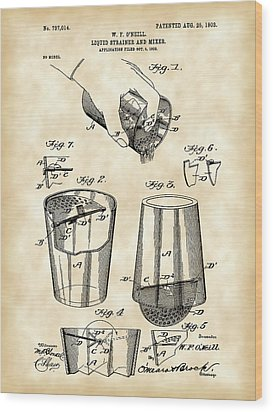 Cocktail Mixer And Strainer Patent 1902 - Vintage Wood Print by Stephen Younts