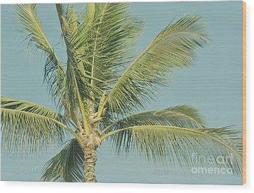 Cocos Nucifera - Niu - Palma - Po'olenalena Beach Maui Hawaii Wood Print by Sharon Mau