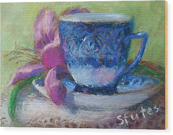 Coffee And Flowers Wood Print by Nancy Stutes