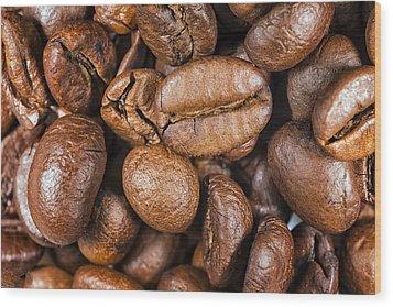 Coffee Beans Detail Wood Print