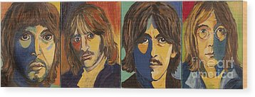 Wood Print featuring the painting Colorful Beatles by Jeanne Forsythe