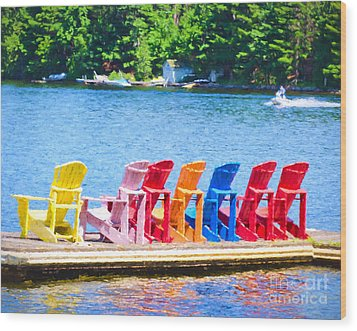 Colorful Chairs Wood Print by Les Palenik