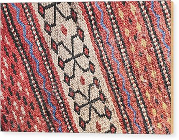 Colorful Rug Wood Print by Tom Gowanlock