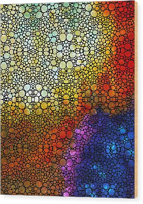Colorful Stone Rock'd Abstract Art By Sharon Cummings Wood Print by Sharon Cummings