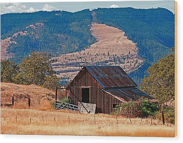 Columbia River Barn Wood Print by Peter Tellone