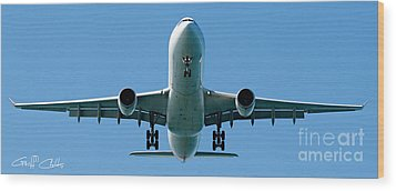 Commercial Aircraft At Sydney Airport Wood Print by Geoff Childs