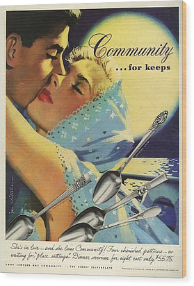 Community Cutlery  1952  1950s Usa Wood Print by The Advertising Archives