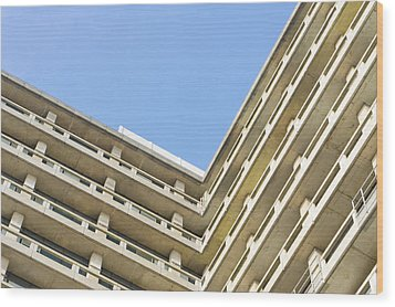 Concrete Building Wood Print by Tom Gowanlock