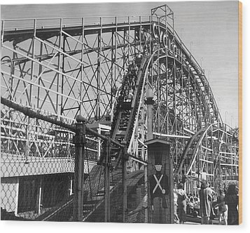 Coney Island - Cyclone Roller Coaster Wood Print by MMG Archives