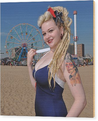 Coney Island Wood Print by Jim Poulos