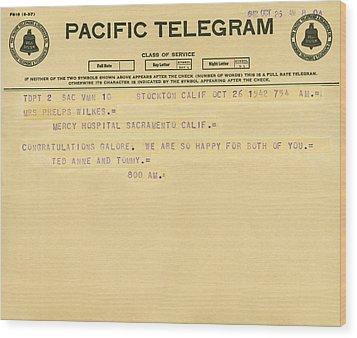 Congratulatory Telegram Wood Print by Underwood Archives