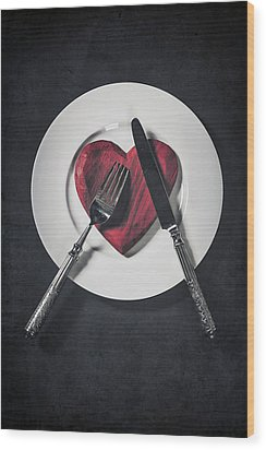 Cooking With Love Wood Print by Joana Kruse