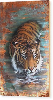 Copper Tiger II Wood Print by Sandi Baker