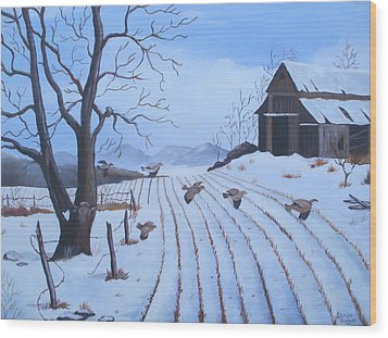 Cornfield Wood Print by Glenda Barrett