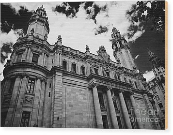 Correos Y Telegrafos Phone And Telegraph Central Post Office Building Barcelona Catalonia Spain Wood Print by Joe Fox