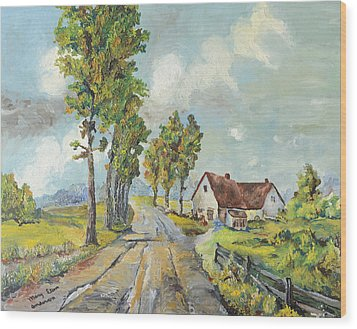 Cottage On Poplar Lane Wood Print by Mary Ellen Anderson