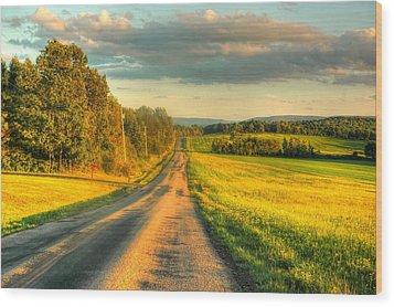 Country Road Wood Print by Ed Roberts