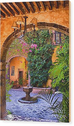 Courtyard Wood Print