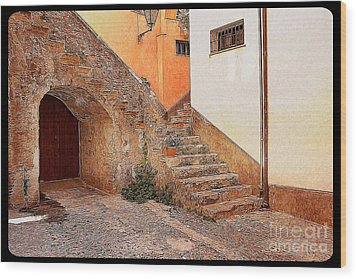 Courtyard Of Old House In The Ancient Village Of Cefalu Wood Print by Stefano Senise
