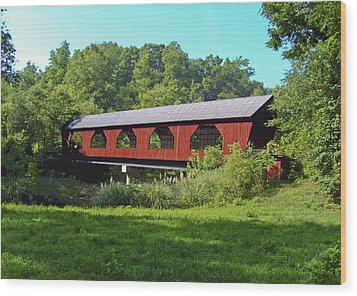 Wood Print featuring the painting Covered Bridge by Debra Crank