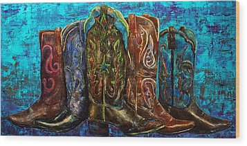 Cowgirl Boots Wood Print by Jennifer Godshalk