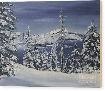 Crater Lake Wood Print by D L Gerring
