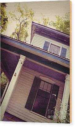 Creepy Old House Wood Print by Jill Battaglia