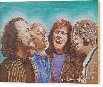 Crosby Stills Nash And Young Wood Print by Kean Butterfield