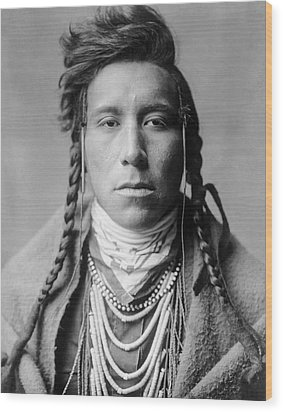 Crow Indian Man Circa 1908 Wood Print by Aged Pixel