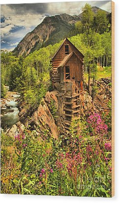 Crystal Mill Wildflowers Wood Print by Adam Jewell