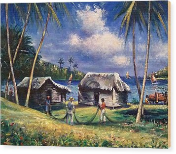 Cuban Fishing Village Wood Print