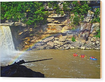Cumberland Falls Rainbow Wood Print by Frozen in Time Fine Art Photography