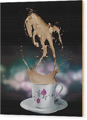 Cup Of Coffee Wood Print by Kate Black