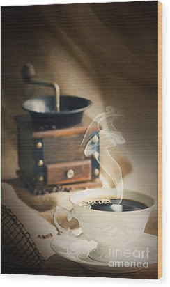 Cup Of Coffee Wood Print by Mythja  Photography