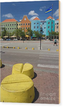 Curacaos Colorful Architecture Wood Print by Amy Cicconi