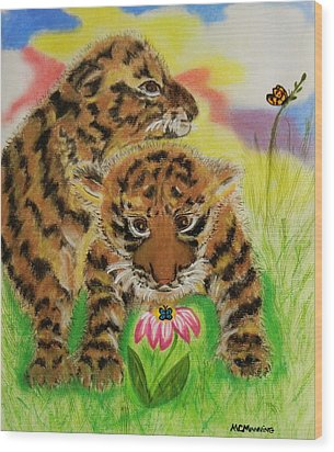Wood Print featuring the pastel Curiosity by Celeste Manning