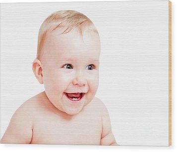 Cute Happy Baby Laughing On White Wood Print by Michal Bednarek