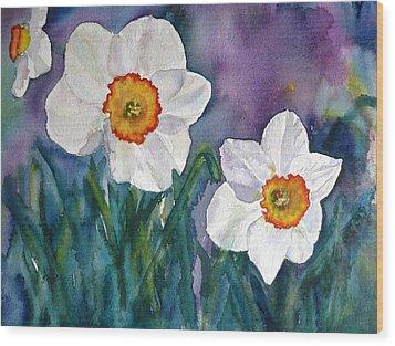 Wood Print featuring the painting Daffodil Dream by Anna Ruzsan