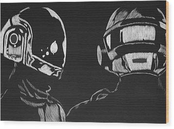 Daft Punk Wood Print by Trevor Garner