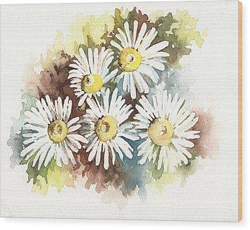 Daisies Wood Print by Natasha Denger