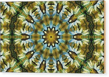 Kaleidoscope Daisy Mae Wood Print by Julia Hassett