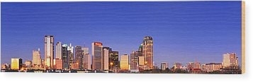 Dallas At Dawn Wood Print by David Perry Lawrence