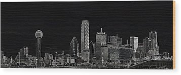 Dallas Skyline In Black Wood Print