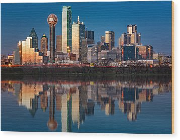 Dallas Skyline Wood Print