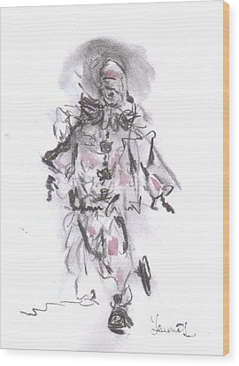 Wood Print featuring the mixed media Dancing Clown by Laurie L